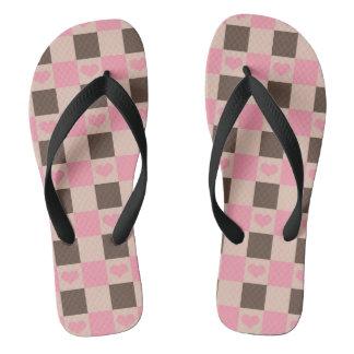 #Sunday Pink Heart Grid Pattern flip-flop Flip Flops
