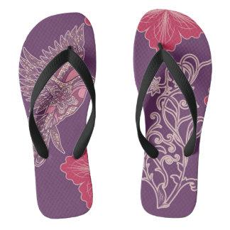 #Sunday purple Indian bird and flowers Flip Flops