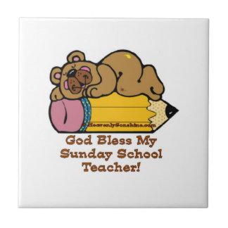 Sunday School Teacher Pencil Small Square Tile