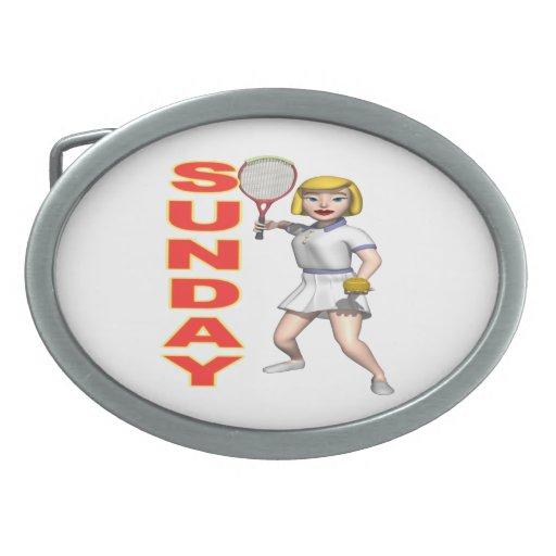 Sunday Tennis.png Belt Buckle
