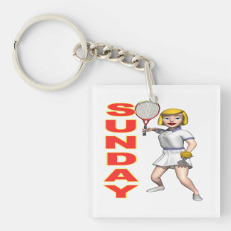 Sunday Tennis.png Keychain