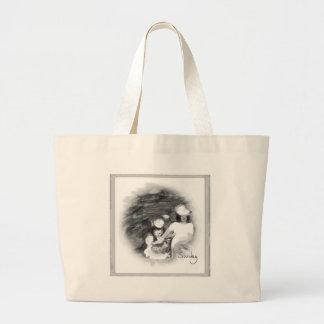 Sundayflowerpickingblkandwht.png Large Tote Bag