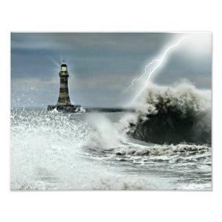 Sunderland - embarcadero y faro de Roker Impresión Fotográfica