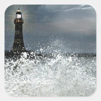 Sunderland - embarcadero y faro de Roker Pegatina Cuadrada