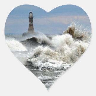 Sunderland - embarcadero y faro de Roker Pegatina En Forma De Corazón