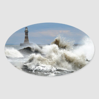 Sunderland - embarcadero y faro de Roker Pegatina Ovalada
