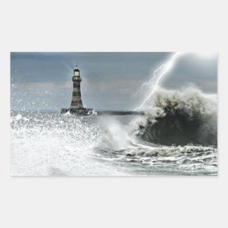 Sunderland - embarcadero y faro de Roker Pegatina Rectangular
