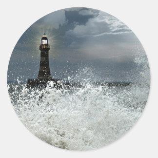 Sunderland - embarcadero y faro de Roker Pegatina Redonda