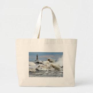Sunderland - Roker Pier & Lighthouse Large Tote Bag