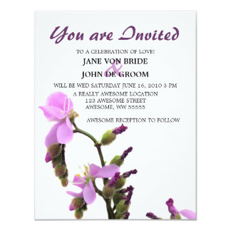 Sundew Flower Purple Wedding Card