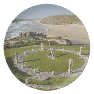 Sundial and Perran Beach, Perranporth, Cornwall, Dinner Plate