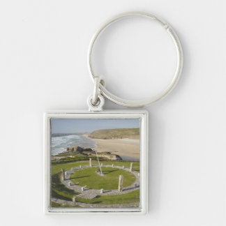 Sundial and Perran Beach, Perranporth, Cornwall, Keychain