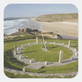 Sundial and Perran Beach, Perranporth, Cornwall, Square Sticker
