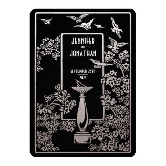 Sundial Garden Wedding Invitations Silver Foil