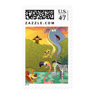 Sundown At The Water Hole Postage Stamp
