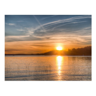 Sundown over an lake postcard