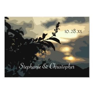 Sundown Silhouette Engagement Party Custom Invitat Card