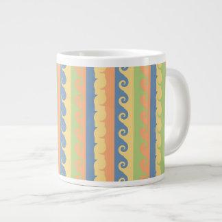 Sundrenched Waves and Twirls Stripes Extra Large Mug