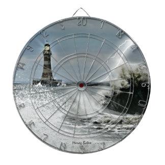 Sunerland - Roker Pier & Lighthouse Dartboard With Darts