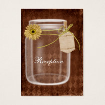 sunflowe rustic mason jar wedding Reception Business Card
