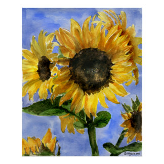 Sunflower 01 Watercolor Paintings Art Print