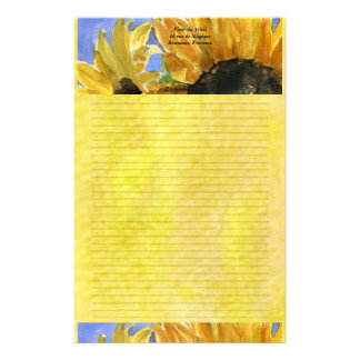 Sunflower 1 Watercolor Personalized Stationary Customized Stationery