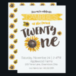 "Sunflower 21st Birthday Invitation<br><div class=""desc"">Celebrate the big 21 with this sunflower themed invitation.</div>"