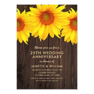 Sunflower 25th Wedding Anniversary Rustic Wood Card