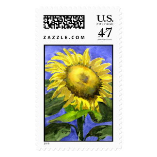 Sunflower 2 Custom Postage Stamp Watercolor