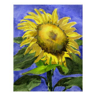 Sunflower 2 Watercolor Painting Art Print