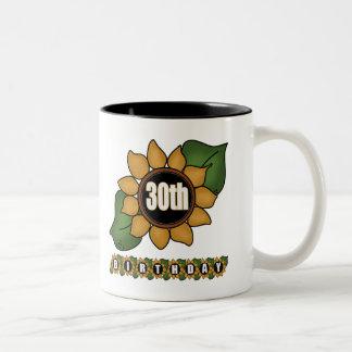 Sunflower 30th Birthday Gifts Two-Tone Coffee Mug