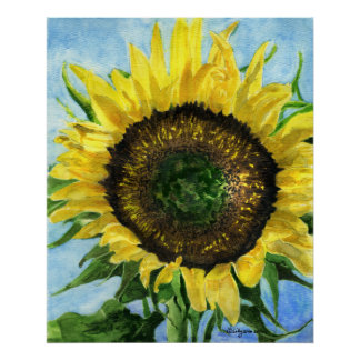 Sunflower 4 Watercolor Painting Art Poster Print