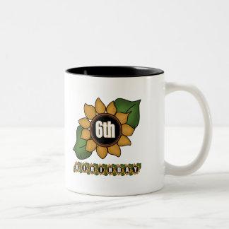 Sunflower 6th Birthday Gifts Two-Tone Coffee Mug