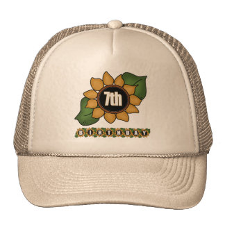 Sunflower 7th Birthday Gifts Trucker Hat