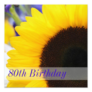 Sunflower 80th Birthday Party 5.25x5.25 Square Paper Invitation Card