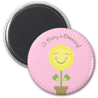 Sunflower 'A Baby is Blooming' Pink Round Magnet