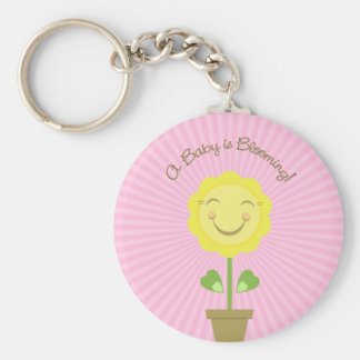 Sunflower A Baby is Blooming Round Keychain
