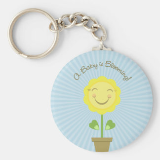 Sunflower 'A Baby is Blooming' Round Keychain Blue