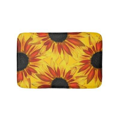 Sunflower Abstract Flower Bath Mats