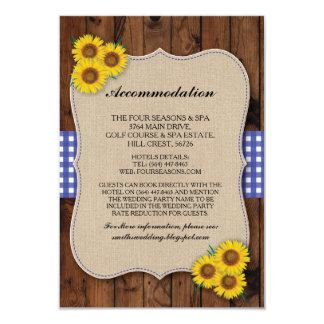 Sunflower Accommodation Burlap Blue Wedding Cards