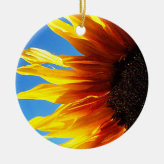 Sunflower Aflame Round Ornament