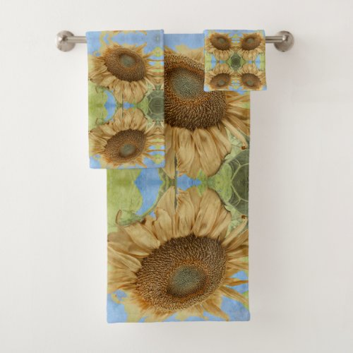 Sunflower against blue sky abstract pattern bath towel set.Sunflower against blue sky abstract pattern photograph. Repeating pattern yellow sunflower bath towel set. Beautiful. trendy, abstract, chic, boho style home decor for your bathroom. This really cool sunflower photo with textured overlay turned into repeating pattern will brighten up your home.