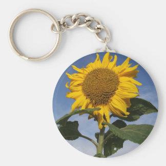 Sunflower against blue sky keychain