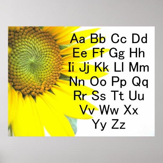 Sunflower Alphabet Chart Poster