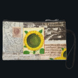 "Sunflower Ancient Rome Italian Wristlet Bag<br><div class=""desc"">Gorgeous sunflowers from a medieval Italian botanical illustration are featured on this lovely and sophisticated sleeve along with a vintage postcard of the coliseum in Rome, including the Roman postmark on the back, an Italian manuscript from the 1200s, vintage calligraphy advertising typography and an old 100 Lira stamp. Digital collage...</div>"