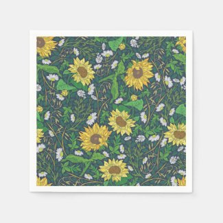 Sunflower and Aster Garden Print Paper Napkins