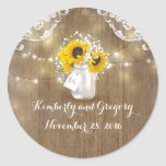 "Sunflower and Baby's Breath Rustic Mason Jar Classic Round Sticker<br><div class=""desc"">Sunflowers and baby's breath flowers rustic mason jar wedding seal</div>"