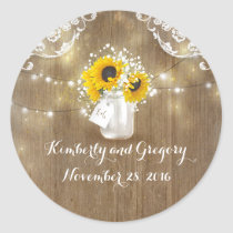 Sunflower and Baby's Breath Rustic Mason Jar Classic Round Sticker