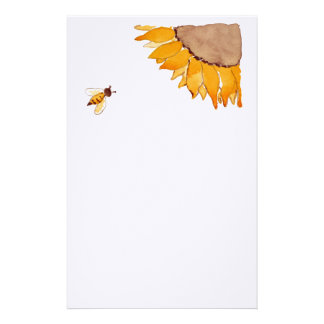 Sunflower and Bee Stationery