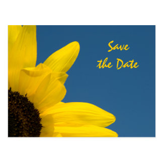 Sunflower Save The Date Blue Postcards | Zazzle